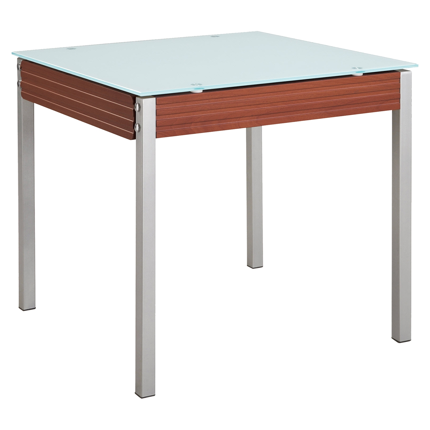 Leonardo Dining Table - Mahogany, Frosted Glass Top, Silver Legs - GLO-D3232DT-M