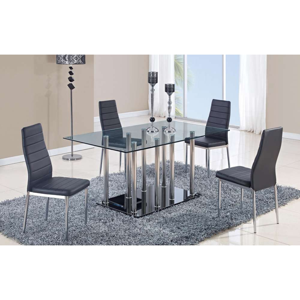 Karina Dining Chair - Chrome Legs, Black