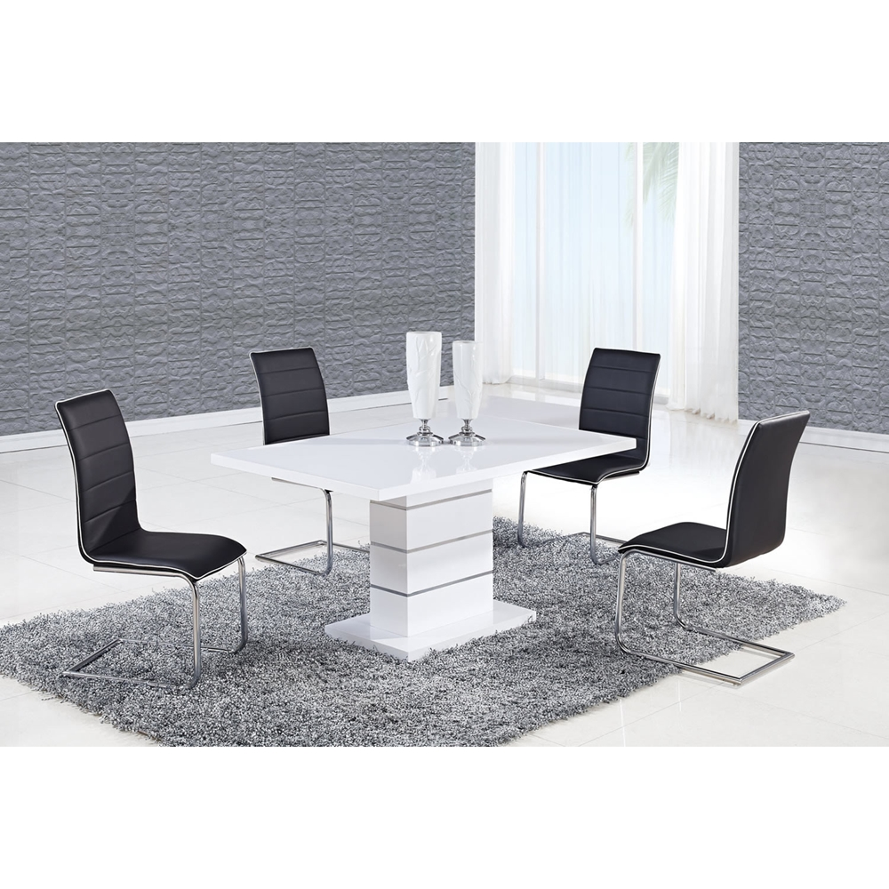 Cesar Dining Table - High Gloss White, Pedestal Base