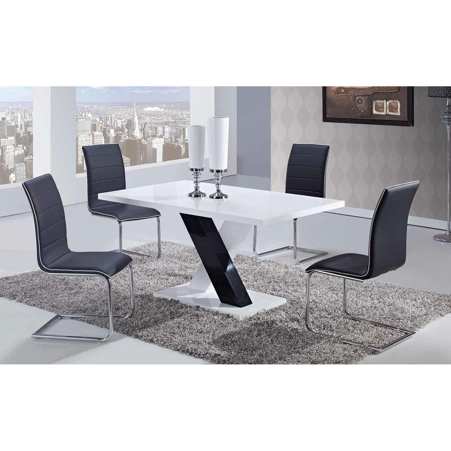 Black Upholstered Dining Side Chair with Chrome Legs - GLO-D490DC-BL-M