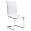 Dining Side Chair - White Upholstery, Chrome Legs - GLO-D490DC-WH-M