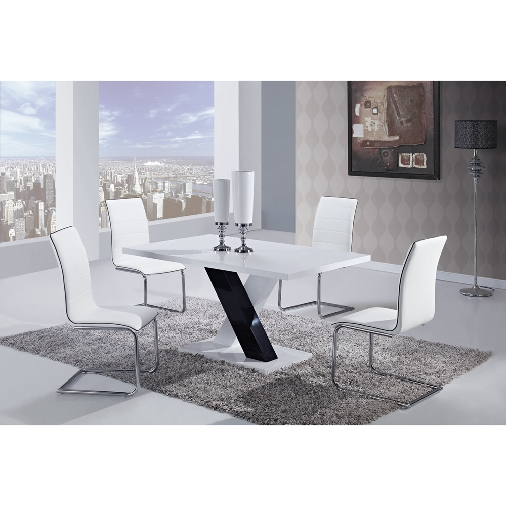 Dining Table High Gloss White Top Black And White Legs