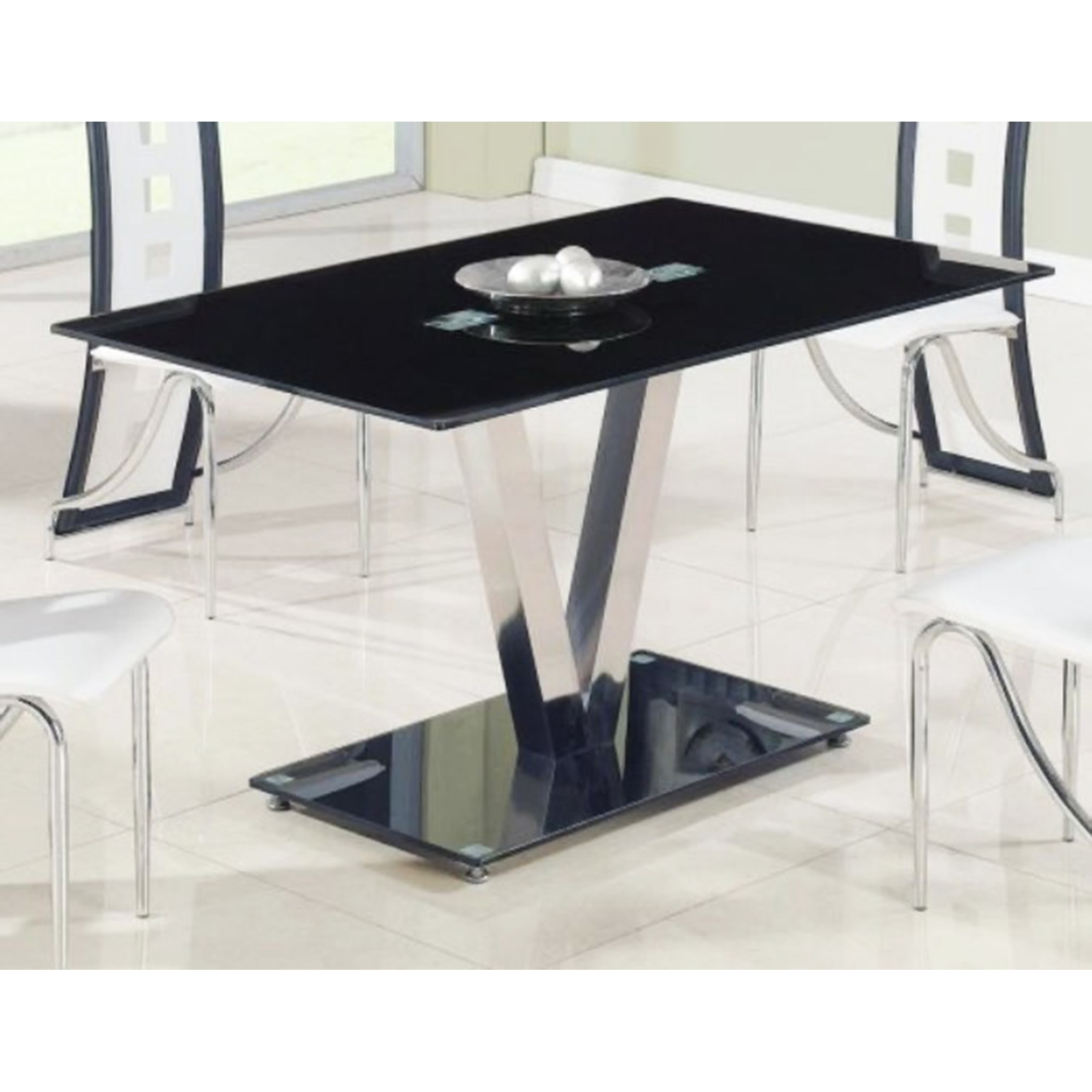Kiara Dining Table   Black Glass, Stainless Steel Legs   GLO D551DT ...