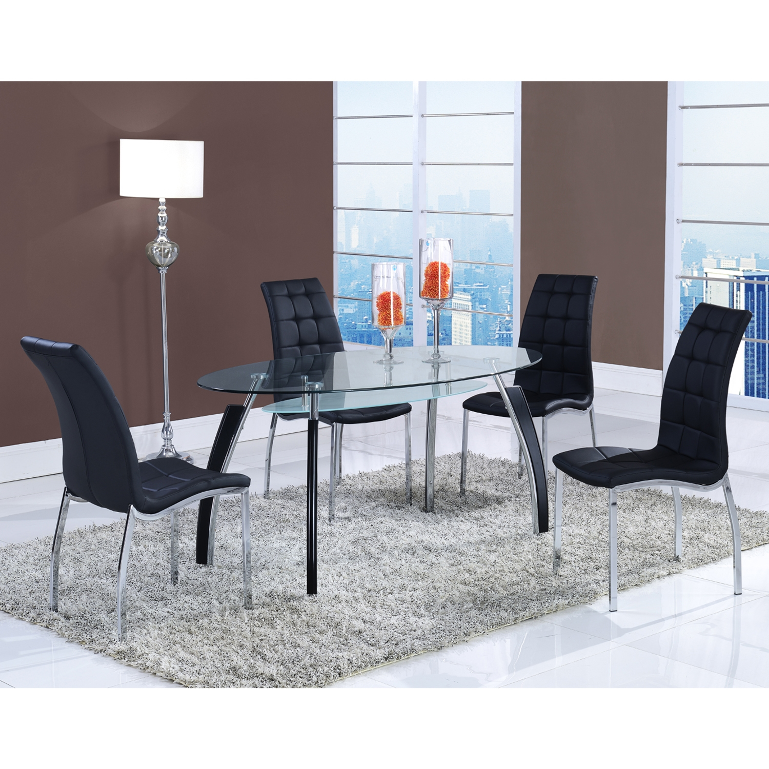 Dining Table - Clear Glass Top, Silver and Black Legs - GLO-D636DT-M