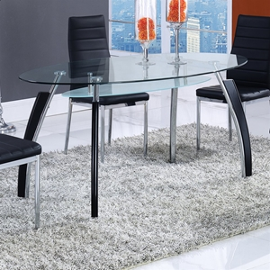 Dining Table - Clear Glass Top, Silver and Black Legs