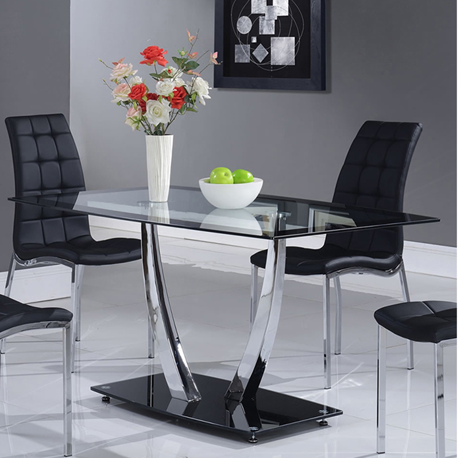 Camila Dining Table Chrome Legs Glass Top Black Base DCG Stores