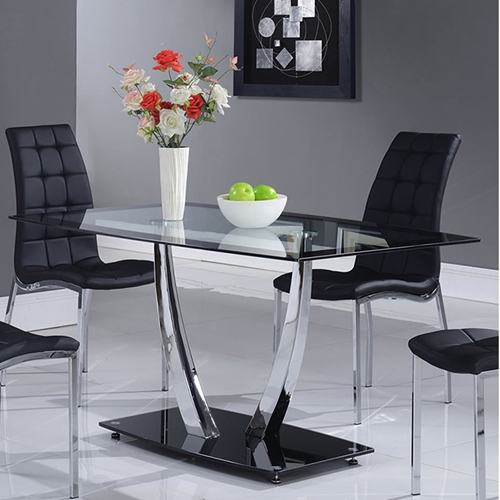 Camila Dining Table Chrome Legs Glass Top Black Base