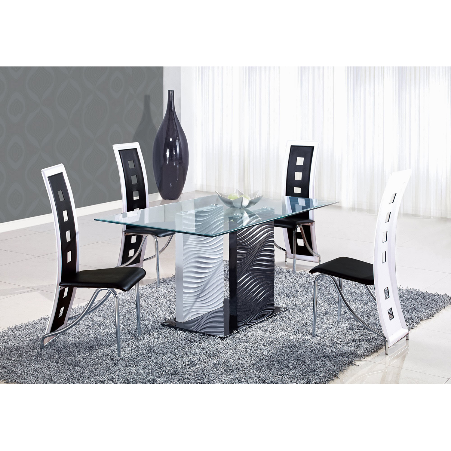 Dining Chair Black with White Trim - GLO-D803DC-BL-M