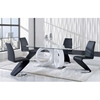 Skylar 5-Piece Dining Set with Black Chairs - GLO-D9002DT-DC-BL-M-SET
