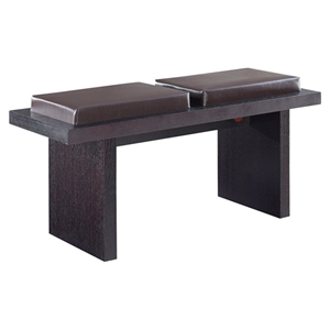 Tristan Bench in Brown Cushion Seat, Wenge Legs