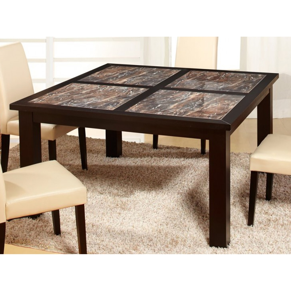 dynasty marble stone dining table in wenge dcg stores. Black Bedroom Furniture Sets. Home Design Ideas