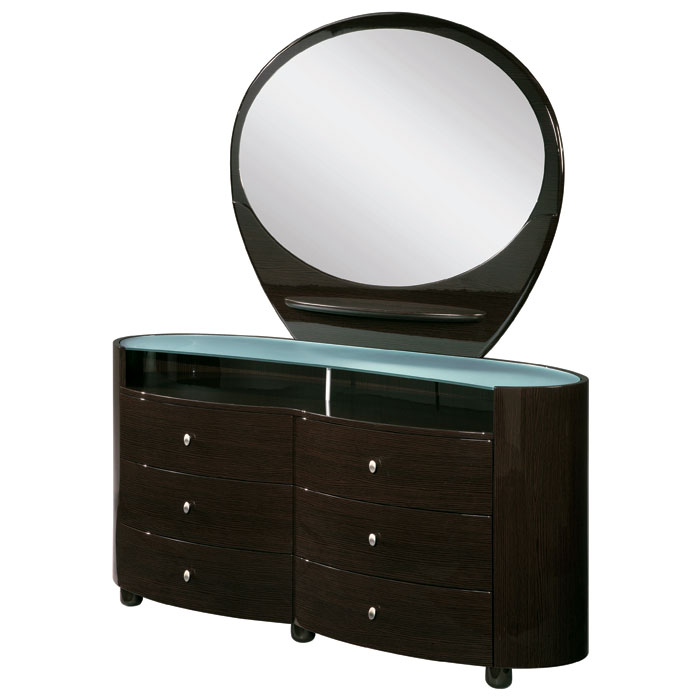 Emily Contemporary 6 Drawer Oval Dresser - GLO-EMILY-XX-DR