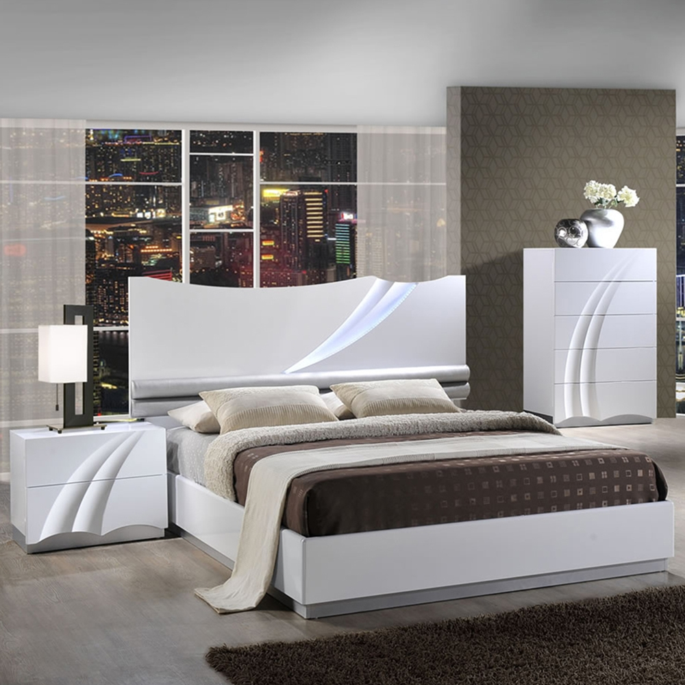 Eva bedroom set in high gloss white dcg stores for White high gloss bedroom furniture
