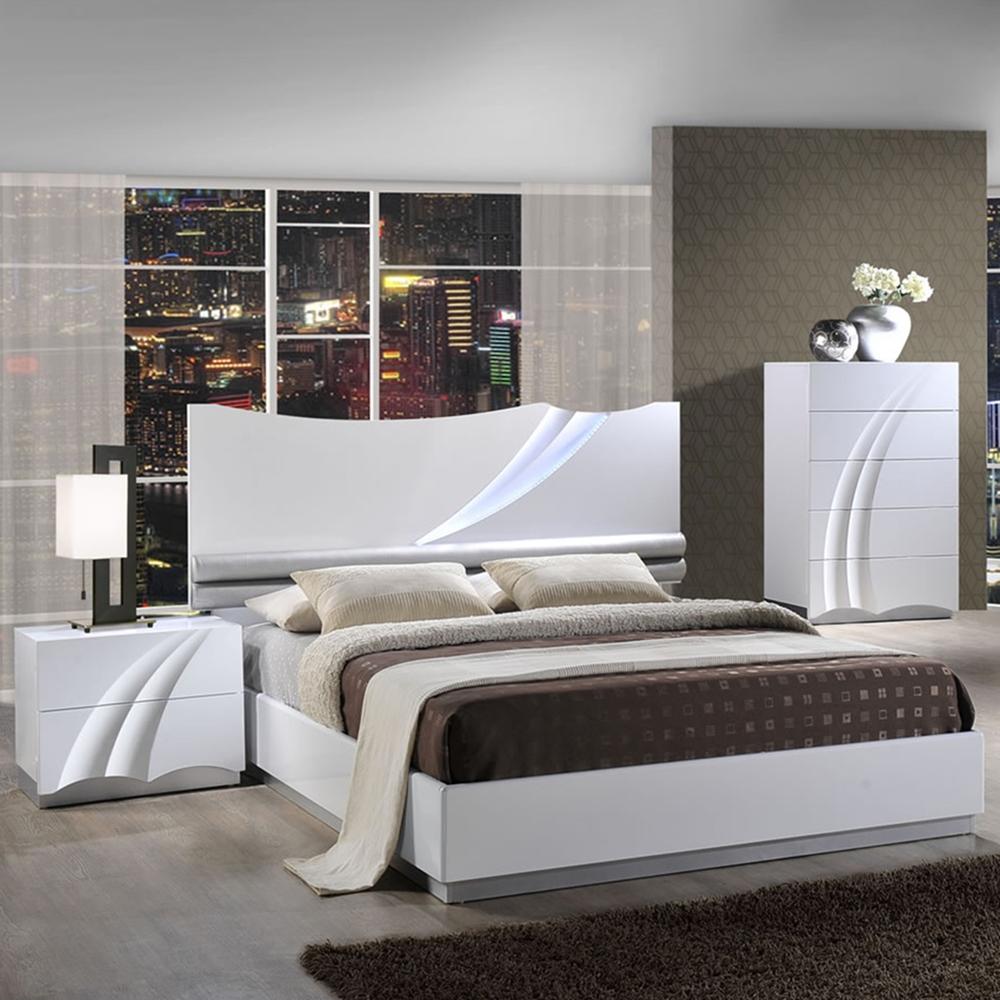 Eva Bedroom Set In High Gloss White Dcg Stores