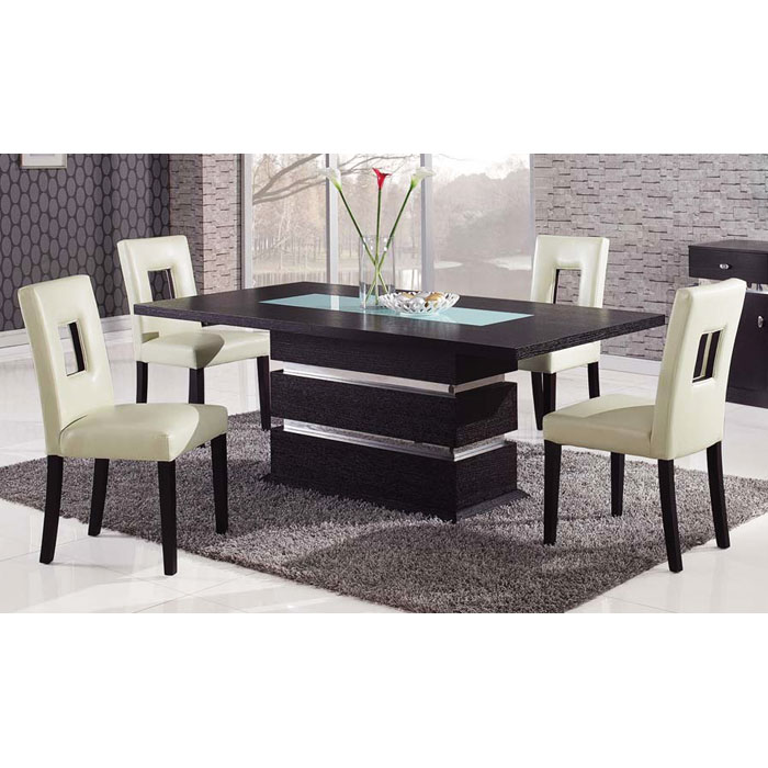 Brinley Dining Table with Frosted Glass Accent - GLO-DG072DT