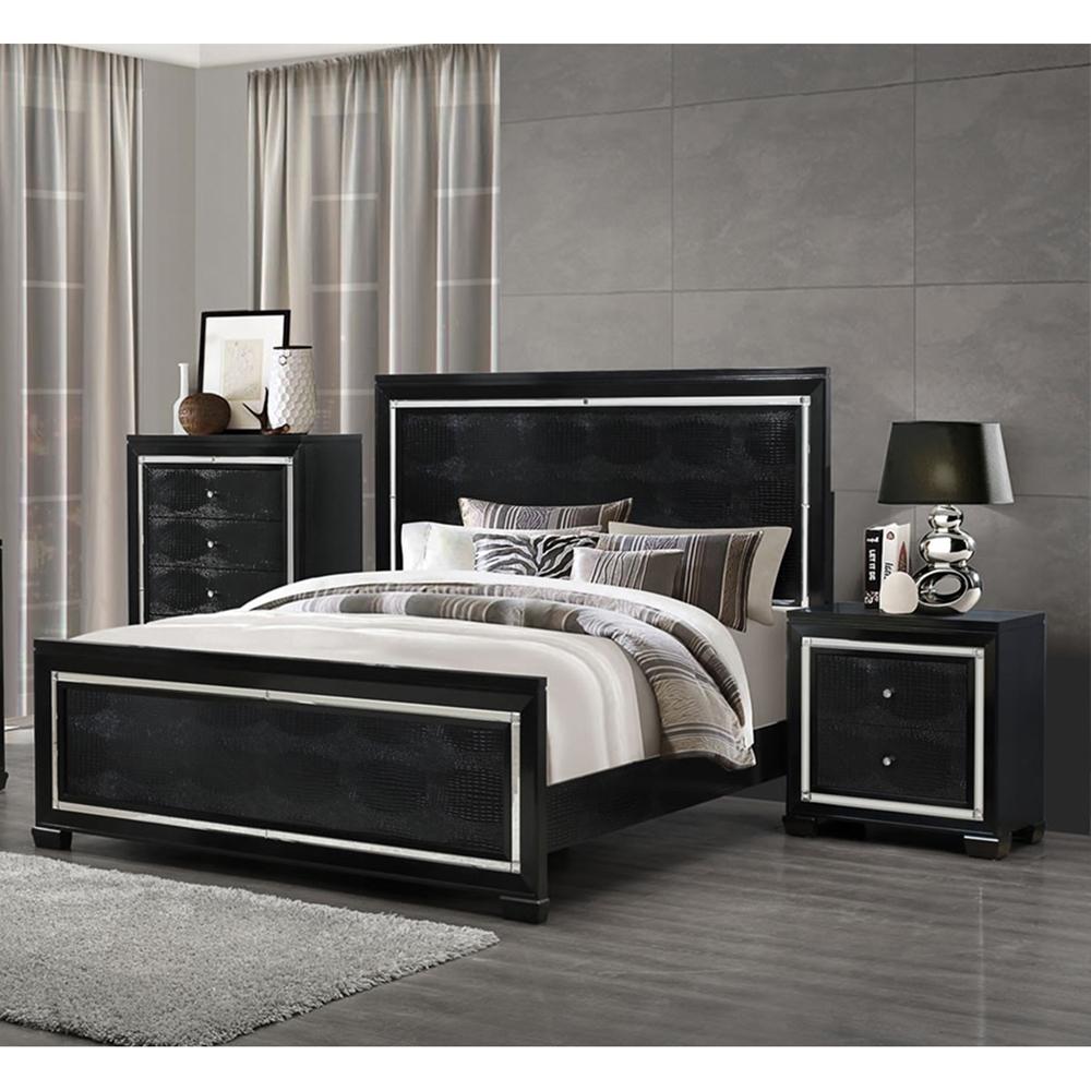 Galaxy Bedroom Set In Metallic Black Dcg Stores