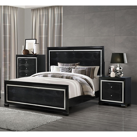 Galaxy Bedroom Set In Metallic Black Dcg Stores