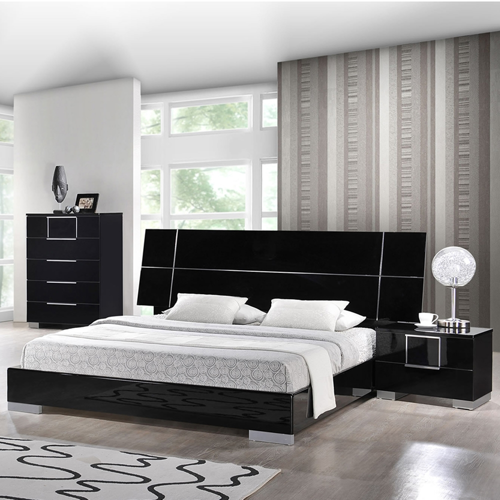 Hailey bedroom set in high gloss black dcg stores for High gloss bedroom furniture