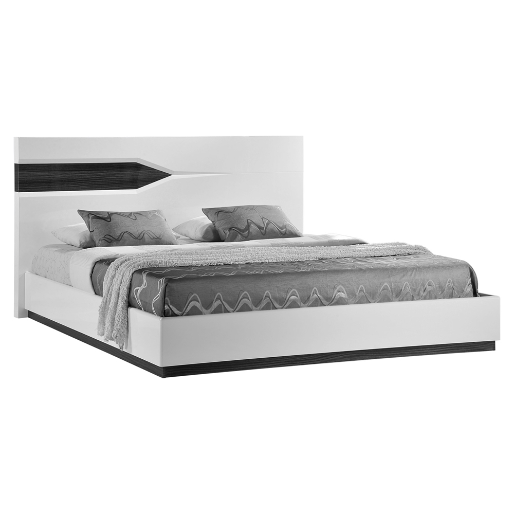 Hudson Bedroom Set High Gloss Zebra Gray And White Dcg