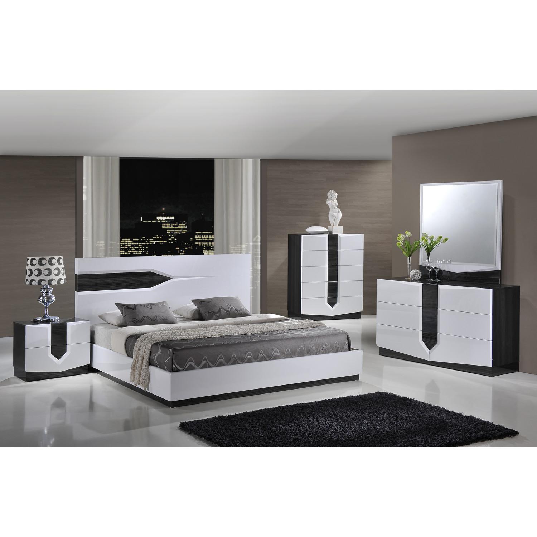 Hudson Bedroom Set High Gloss Zebra Gray And White Glo 988