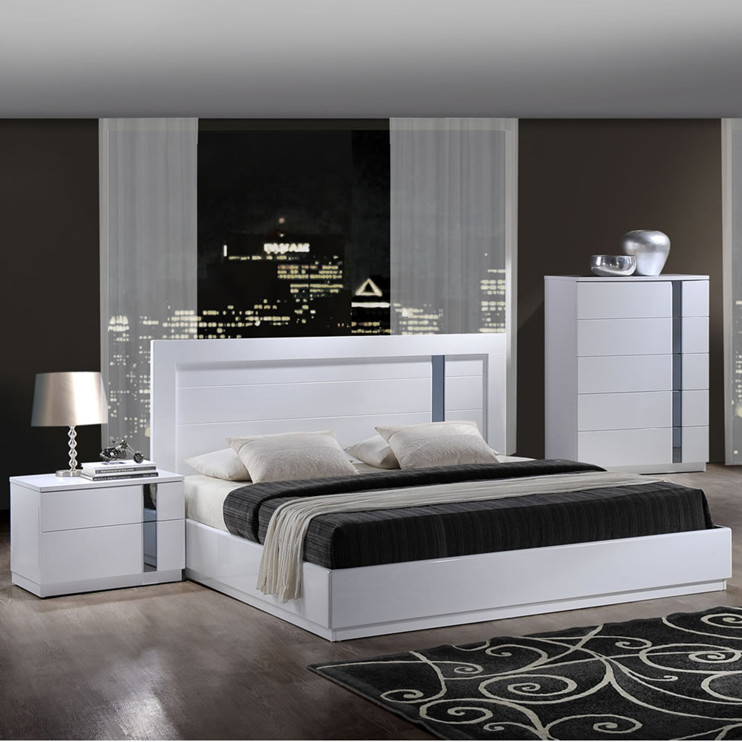 Jody Bedroom Set in High Gloss White - GLO-JODY-911A-WH-M-BED-SET