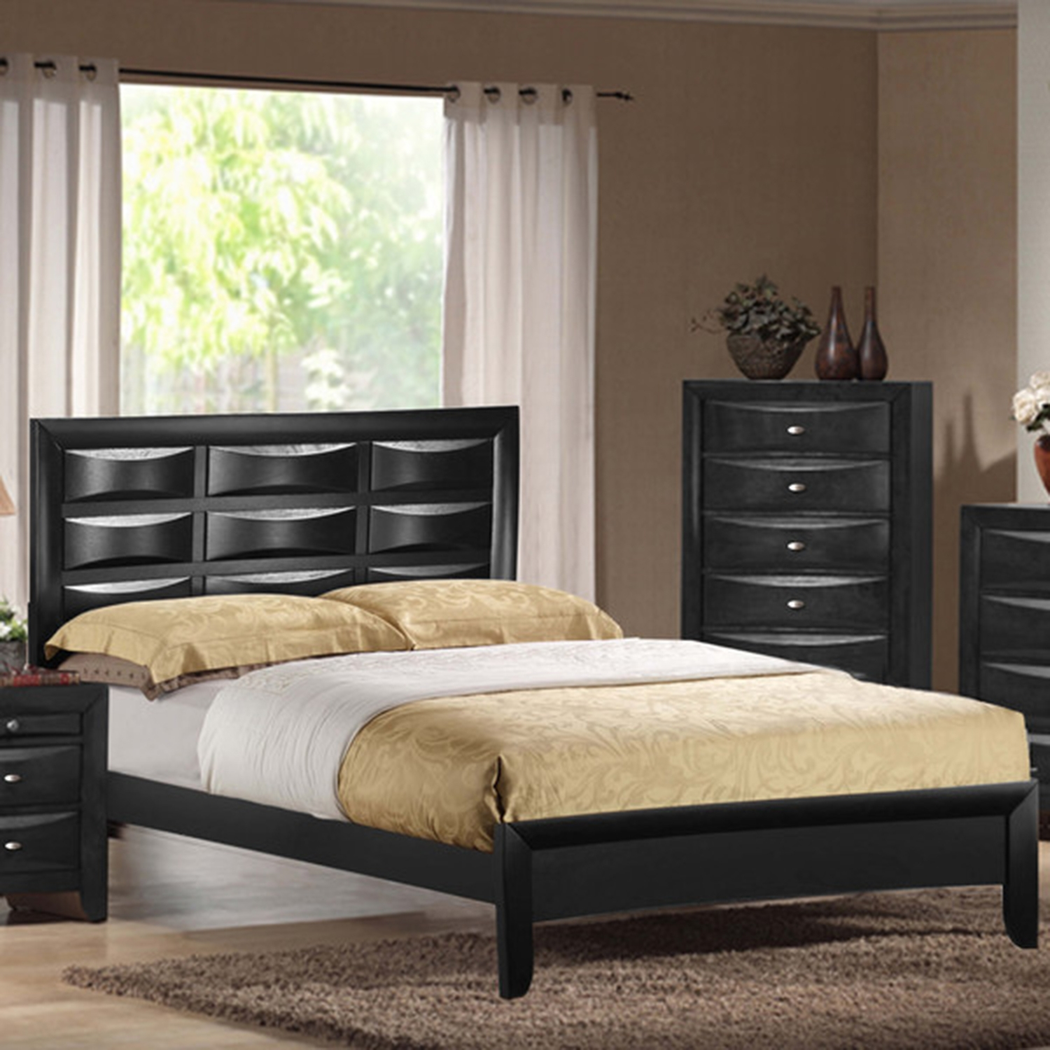 Livia Bed, Black - GLO-LIVIA-BL-BX-BED