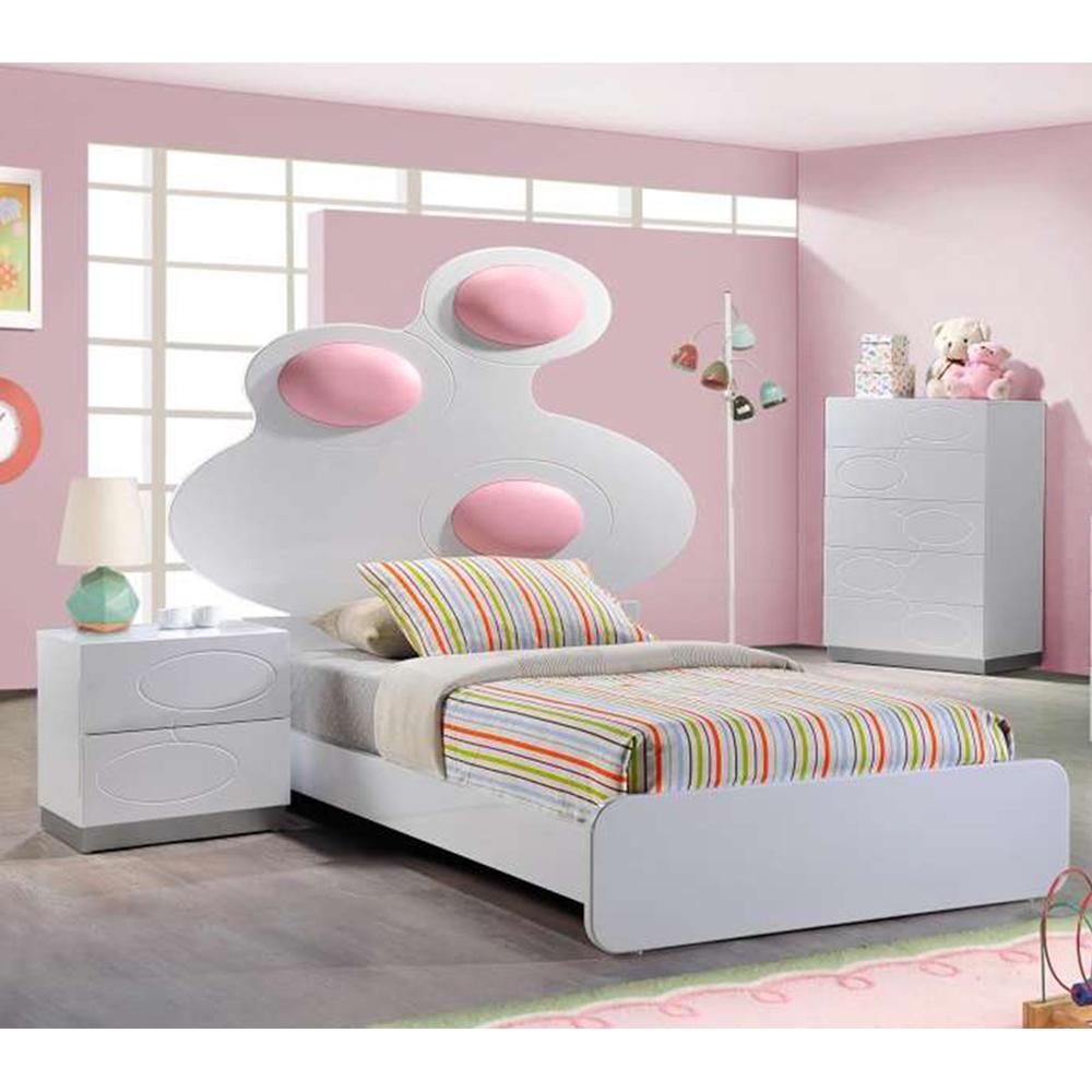 Lola Bedroom Set White Pink DCG Stores