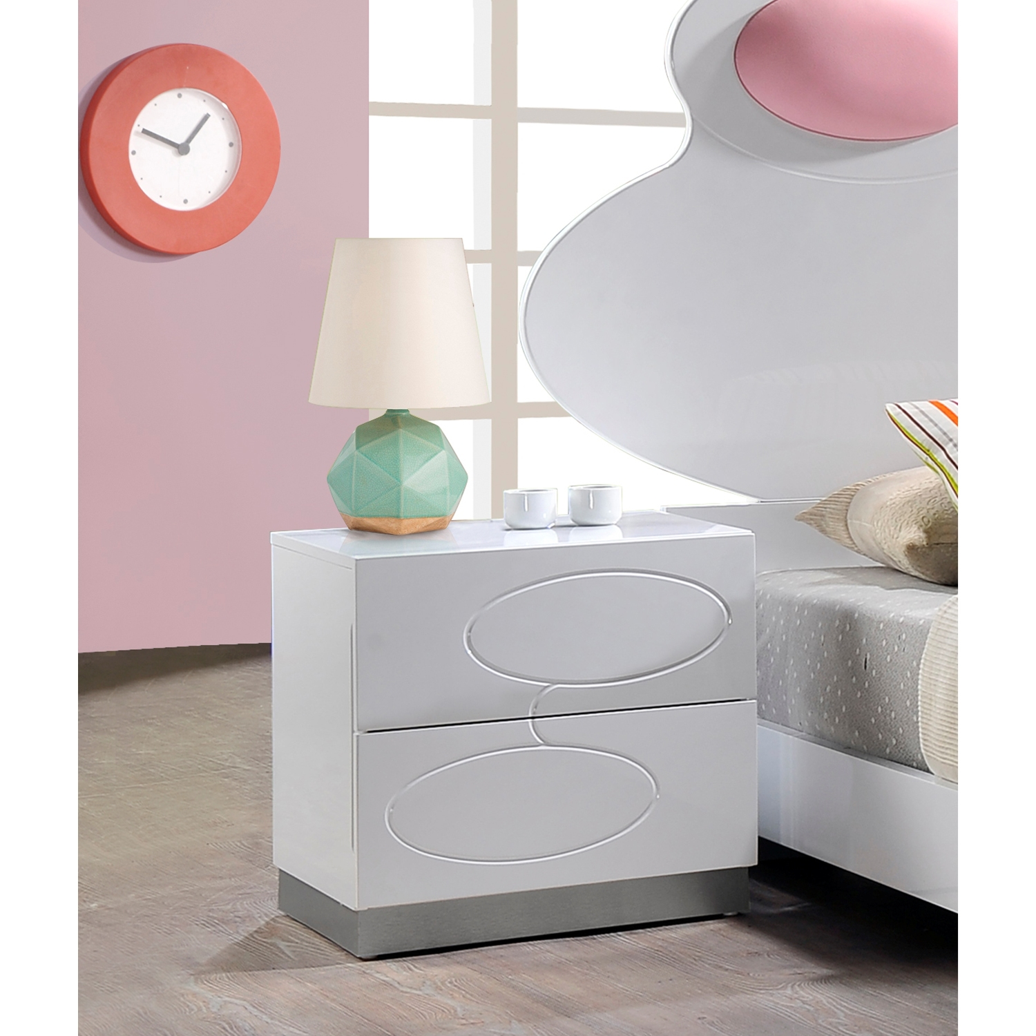 Lola Nightstand - High Gloss White - GLO-LOLA-228-S-NIGHTSTAND-M
