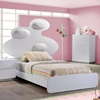 Lola Bed in High Gloss White with White Cushion - GLO-LOLA-228-WH-M-BED
