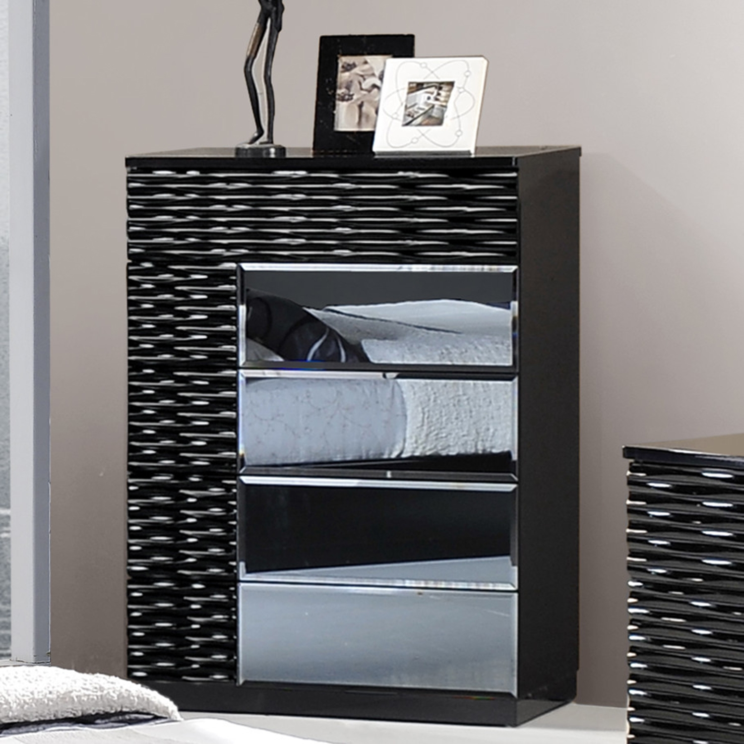 Manhattan Chest - High Gloss Black - GLO-MANHATTAN-961-M-CH