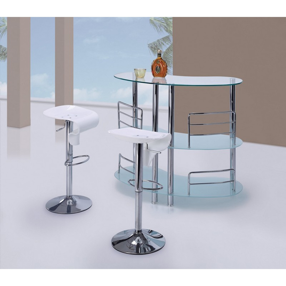 Maya Bar Table Frosted Glass Chrome Legs Dcg Stores