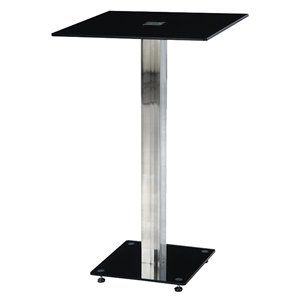 Ellie Bar Table - Black, Chrome Leg