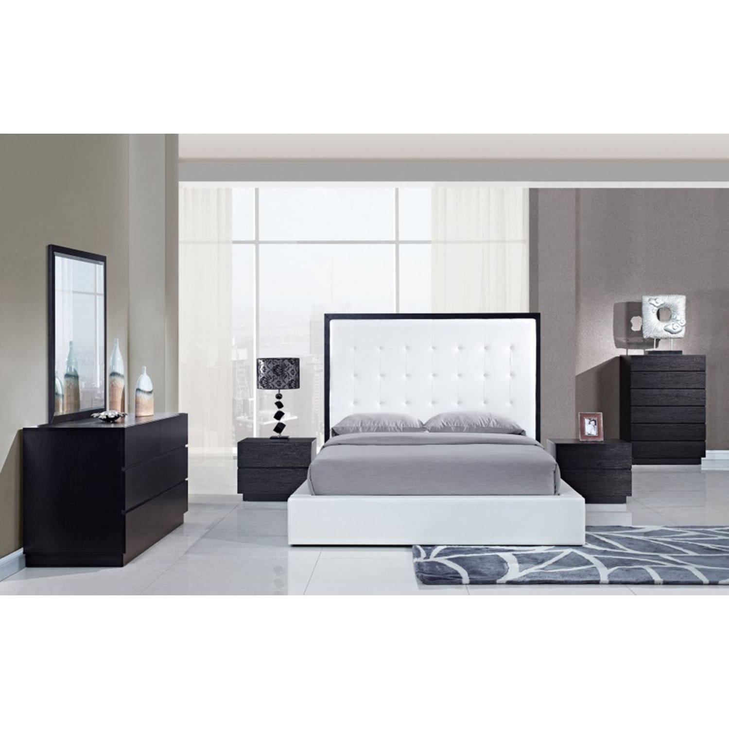 Metro Bedroom Set in White/Wenge - GLO-METRO-WH-SET