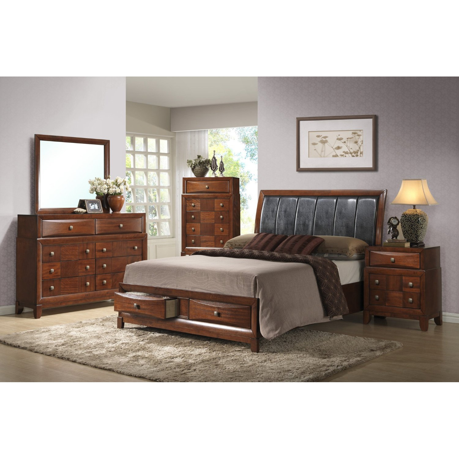 Oasis Bed, Oak Finish - GLO-OASIS-BED