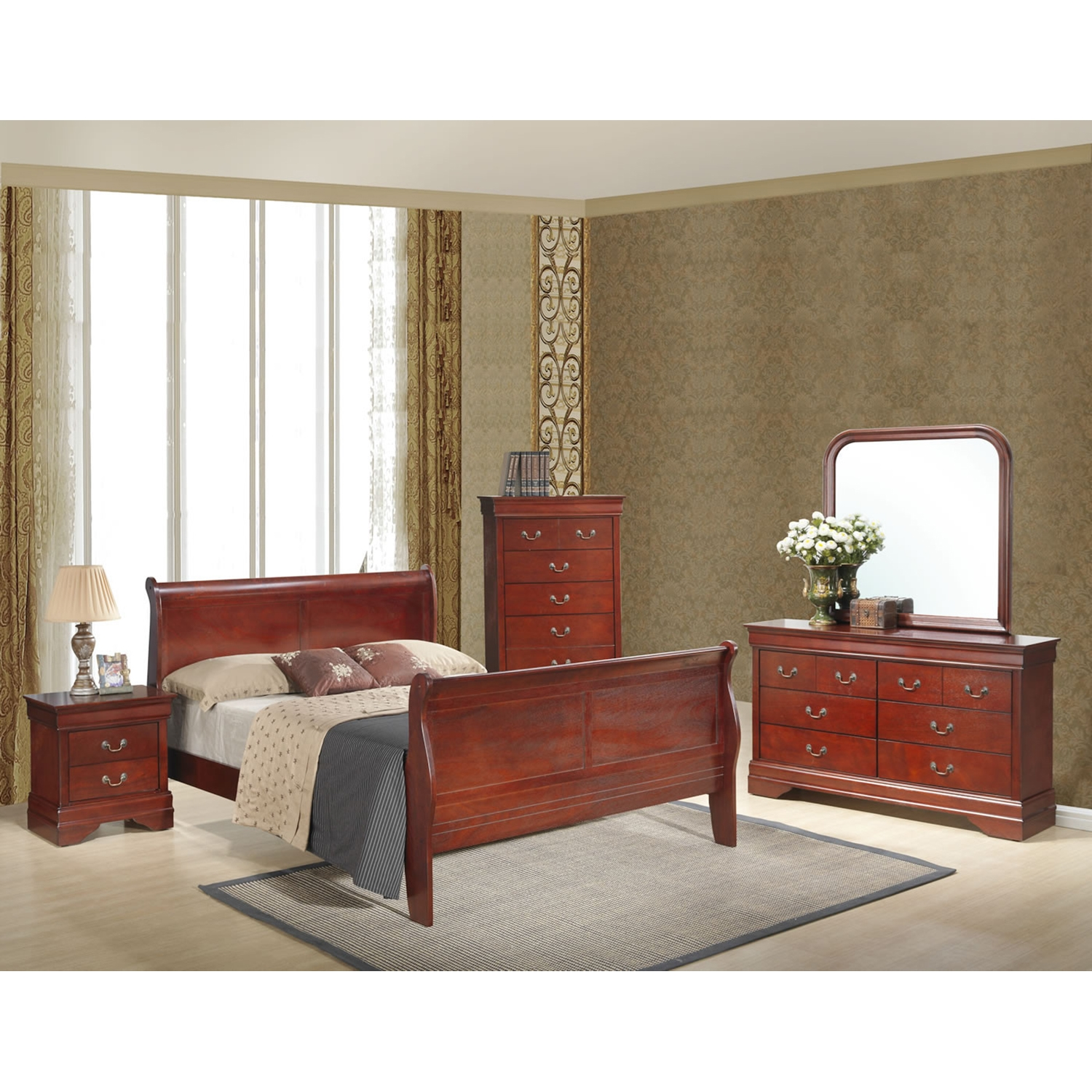 Philippe Bed in Cherry - GLO-PHILIPPE-BED