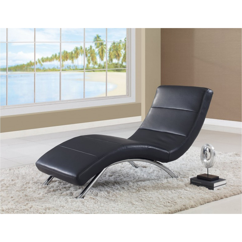 Garrett chaise lounge in black dcg stores for Black and gold chaise lounge