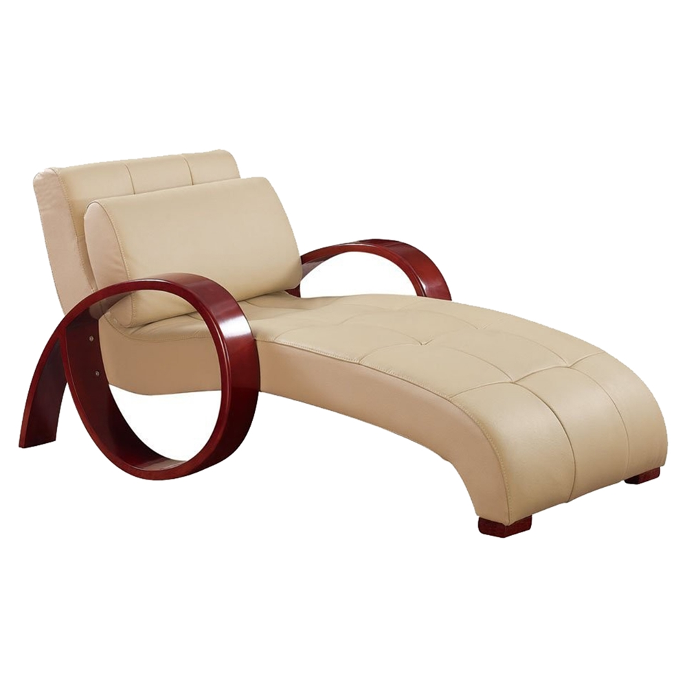 Relax leather chaise lounge in cappuccino dcg stores for Chaise relax