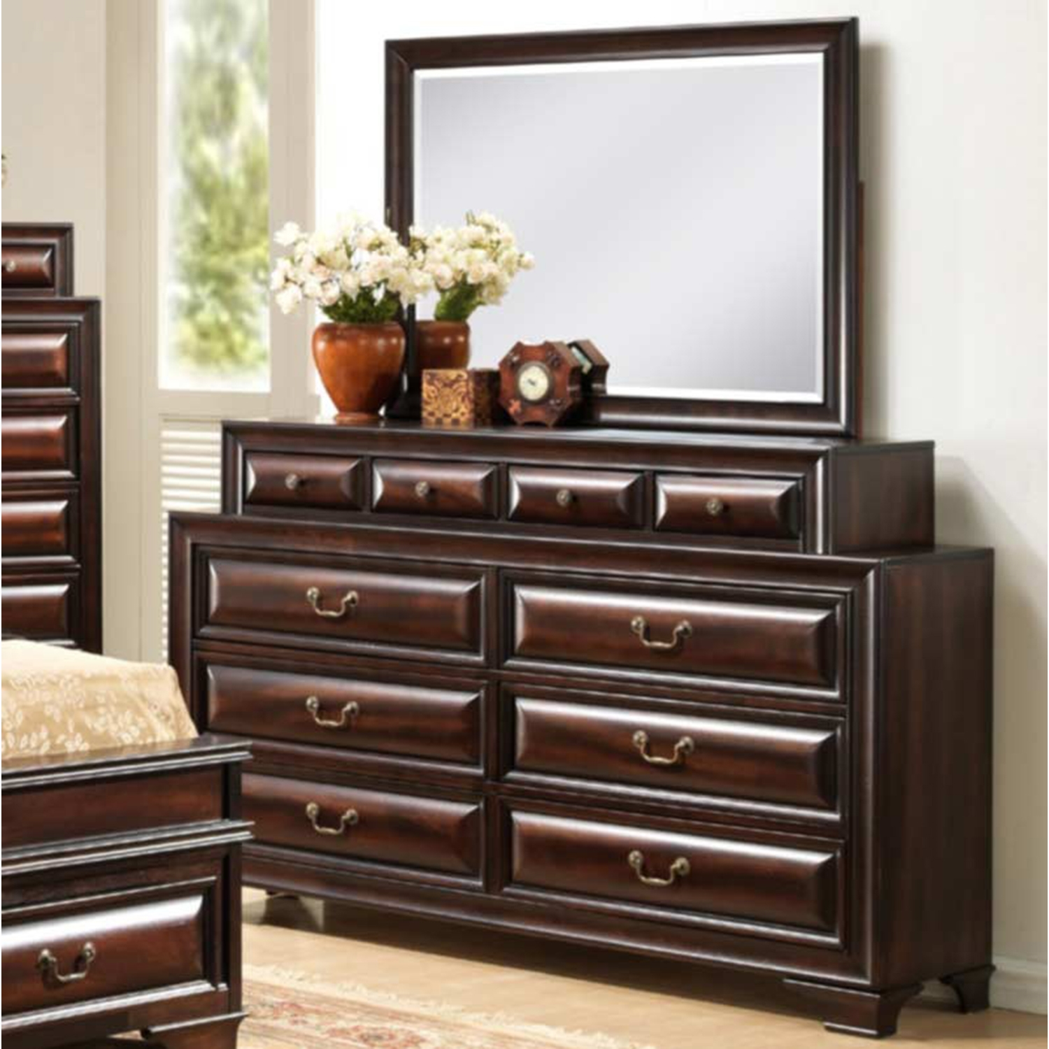 Sarina Bedroom Set in Varnish Oak - GLO-SARINA-033A-M-SET