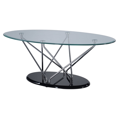 Zoey Coffee Table Clear Chrome Black Dcg Stores