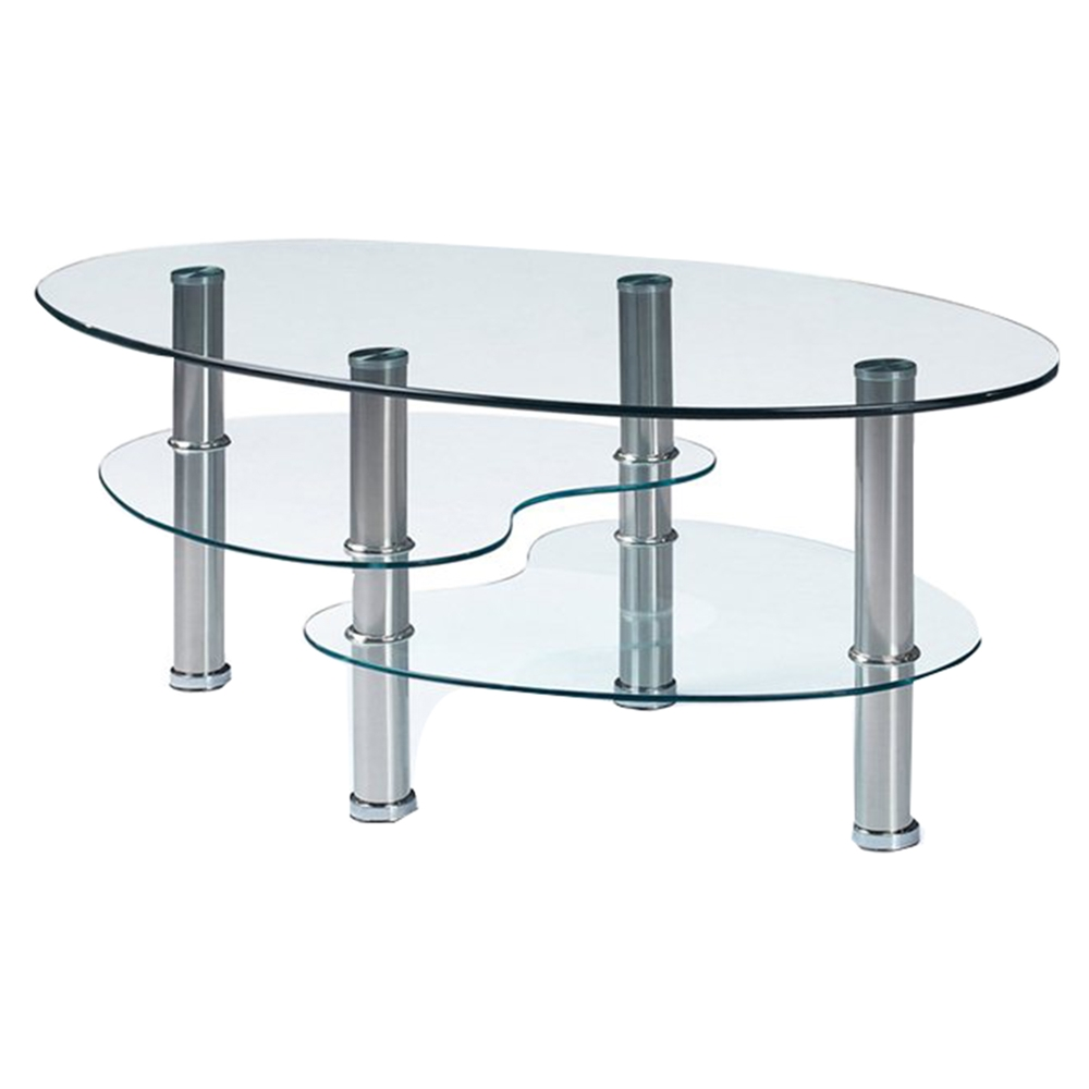 Michelle Coffee Table Clear Glass Stainless Steel Legs