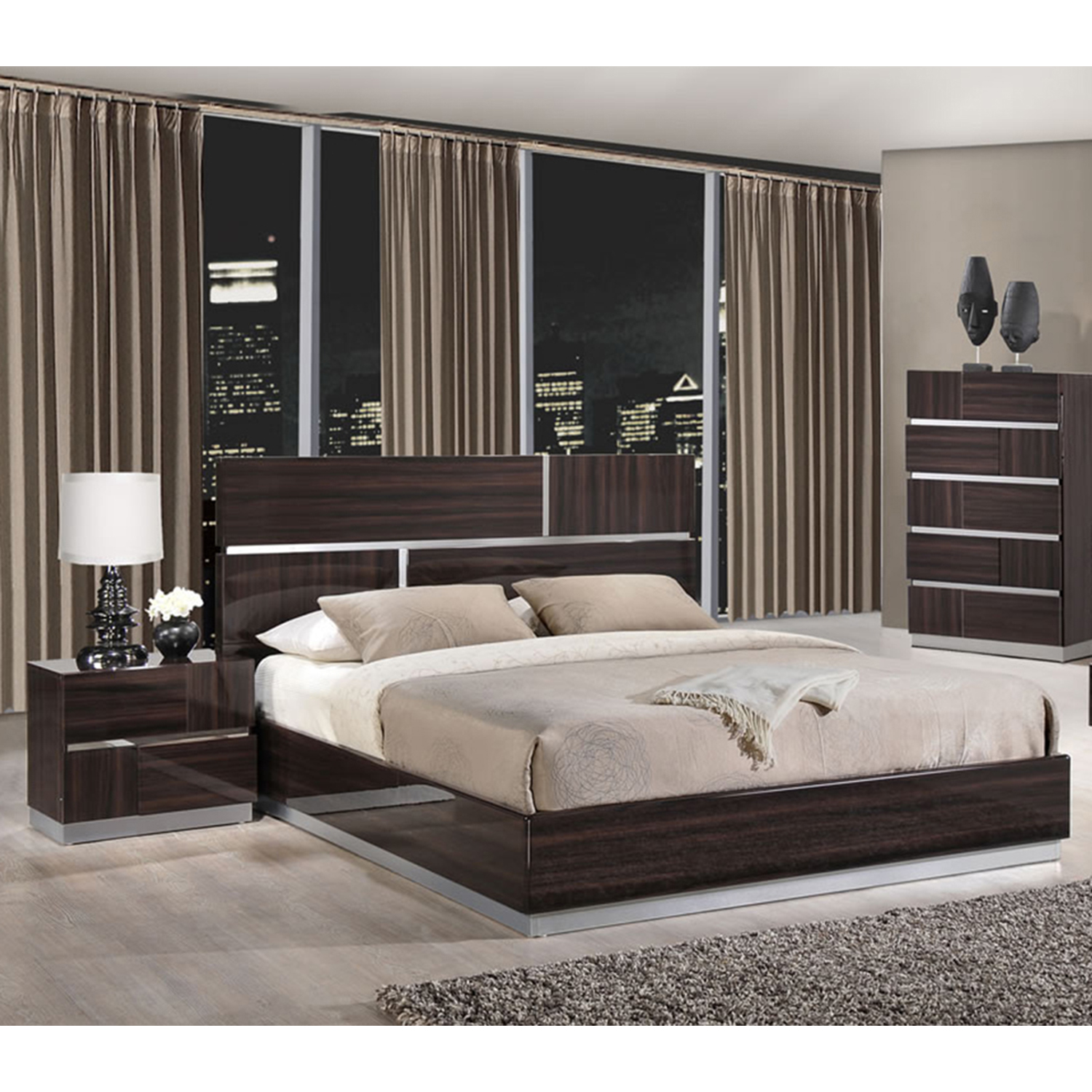 Tribeca Bedroom Set in High Gloss Brown Wood Grain - GLO-TRIBECA-110-BED-SET