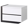 Trinity Left Nightstand - White with Black Glossy Finish - GLO-TRINITY-NS-L