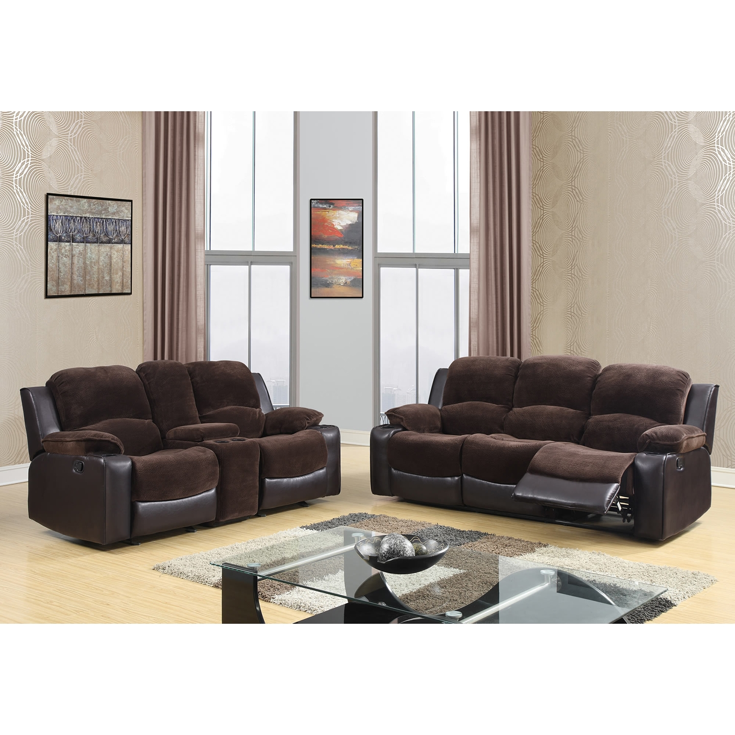 Cassidy Console Reclining Loveseat, Chocolate/Brown - GLO-U1301-CHMP-CHOC-C-R-L-M