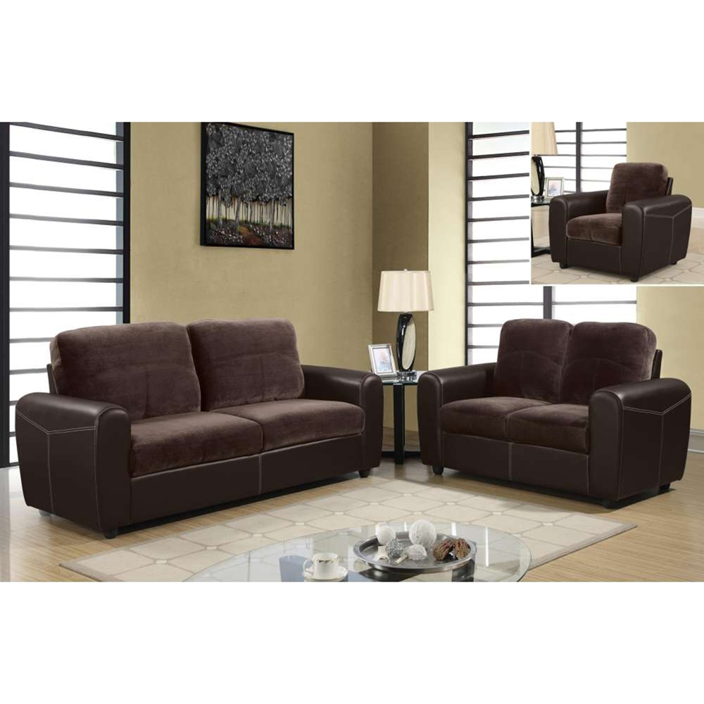 Joel Sofa Set Chocolate Brown Two Tone Color Dcg Stores
