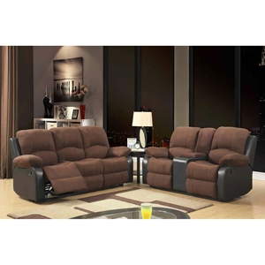 Alondra Reclining Sofa Set in Rider Chocolate