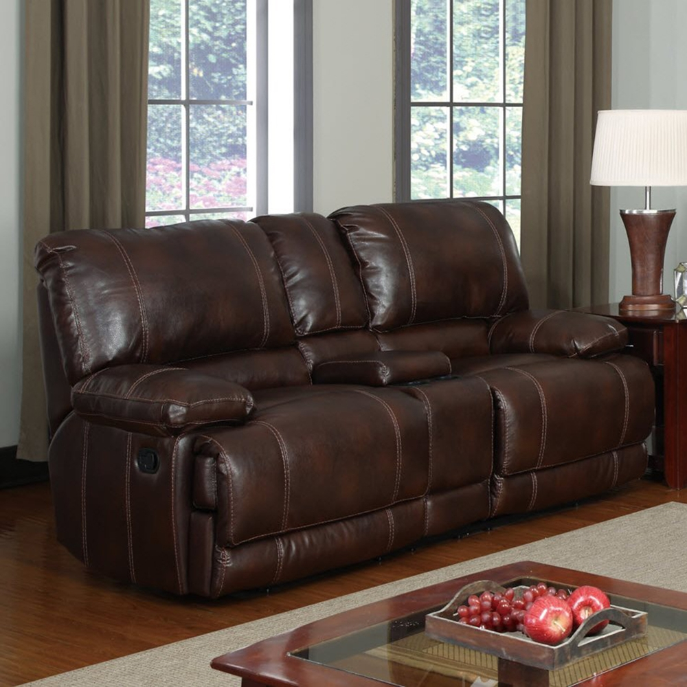 cristian console reclining sofa set brown leather dcg stores. Black Bedroom Furniture Sets. Home Design Ideas