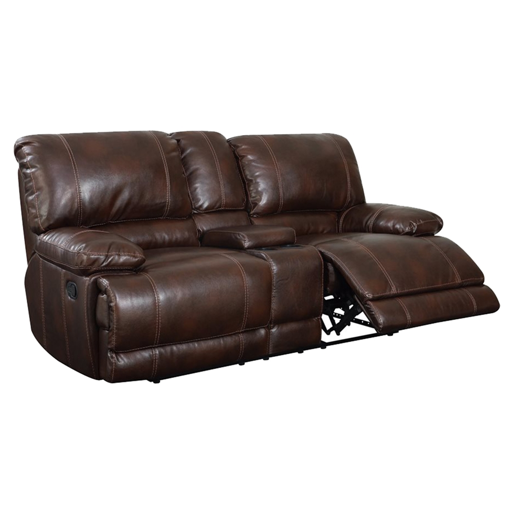 Cristian console reclining loveseat brown leather dcg stores Chocolate loveseat