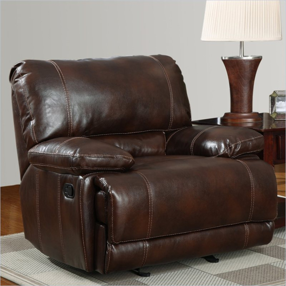 cristian recliner sofa set in brown leather dcg stores. Black Bedroom Furniture Sets. Home Design Ideas