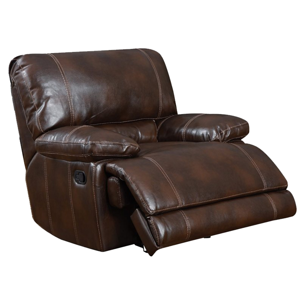 Brown Leather Recliner Sofa Set: Cristian Console Reclining Sofa Set - Brown Leather