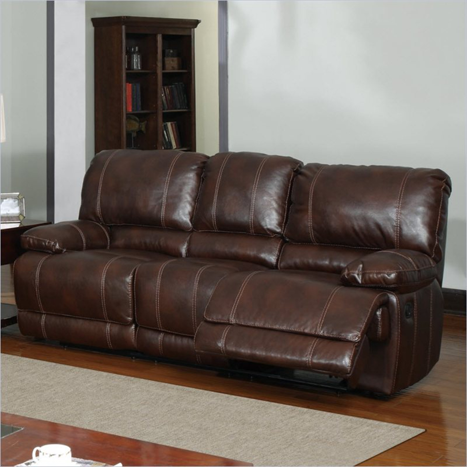Cristian Recliner Sofa Set in Brown Leather - GLO-U1953-SET2